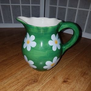Other - Green Floral Pitcher/ Vase